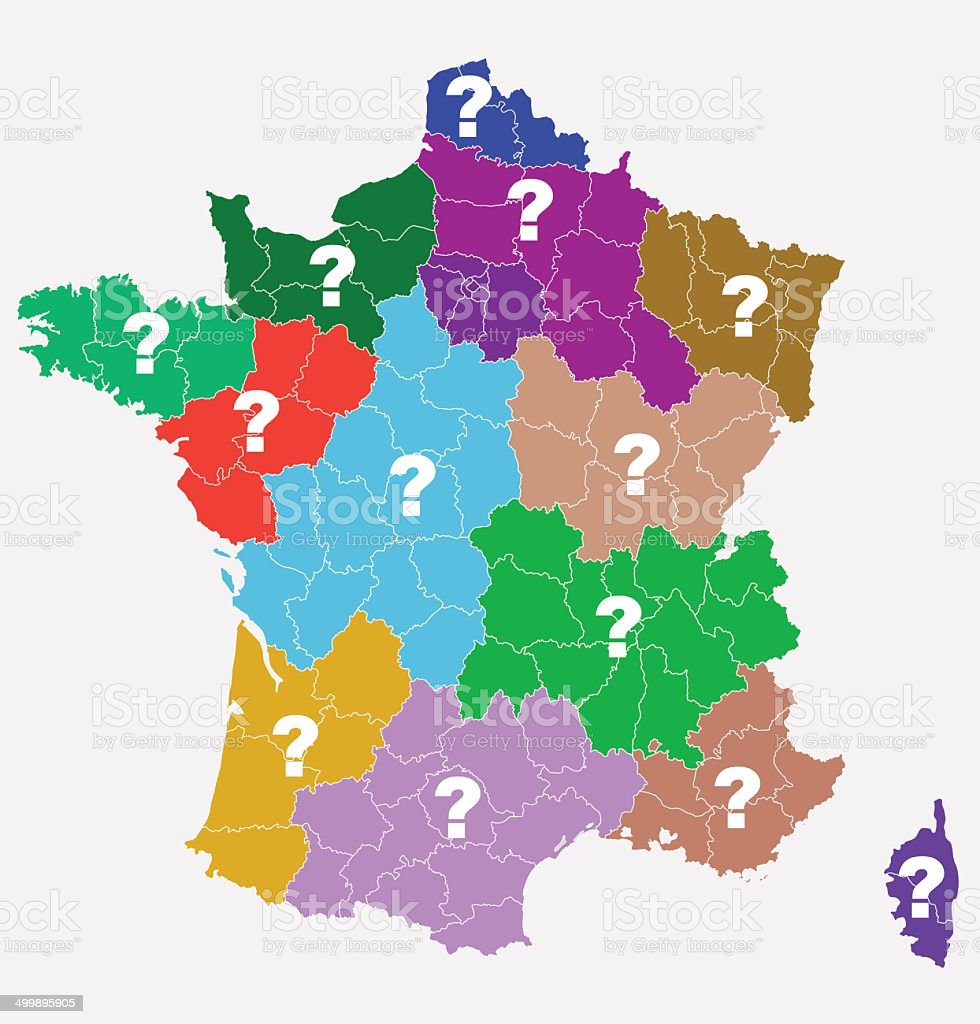 New French regions. Nouvelles regions de France. vector art illustration