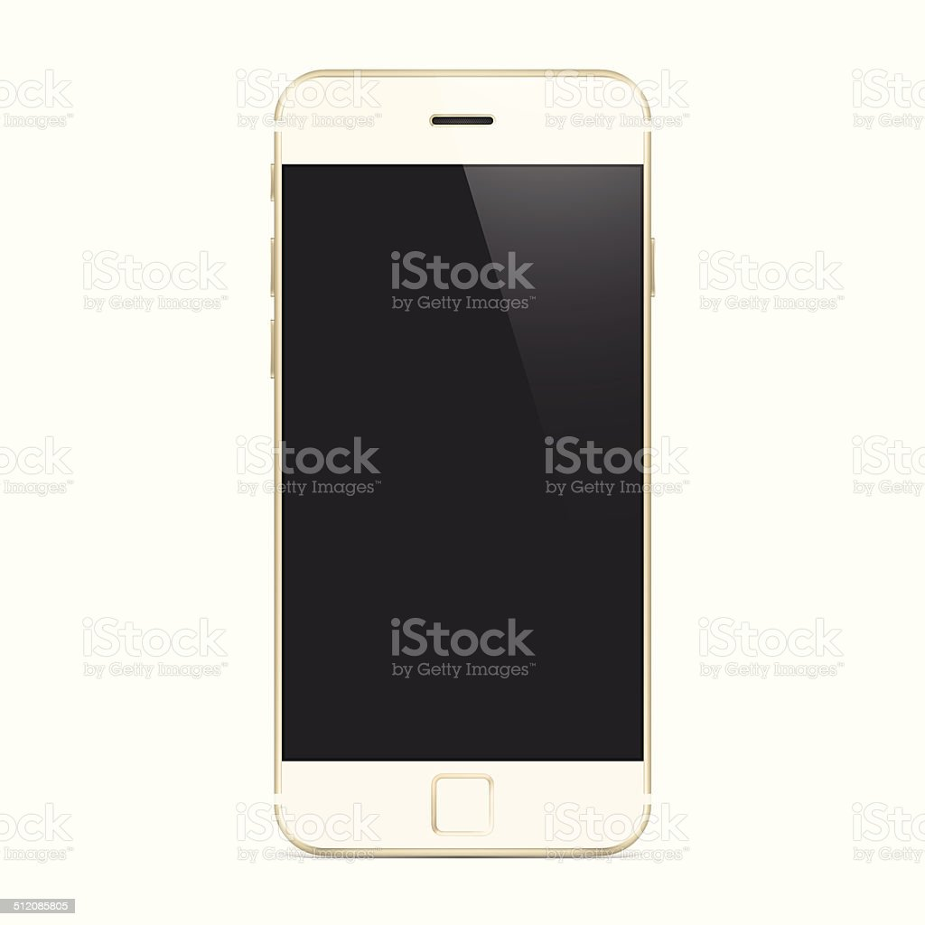 New Gold Smartphone, Mobile Phone, Cell vector art illustration