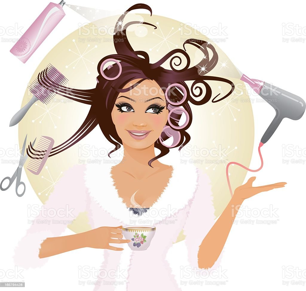 New Hair Style Girl vector art illustration