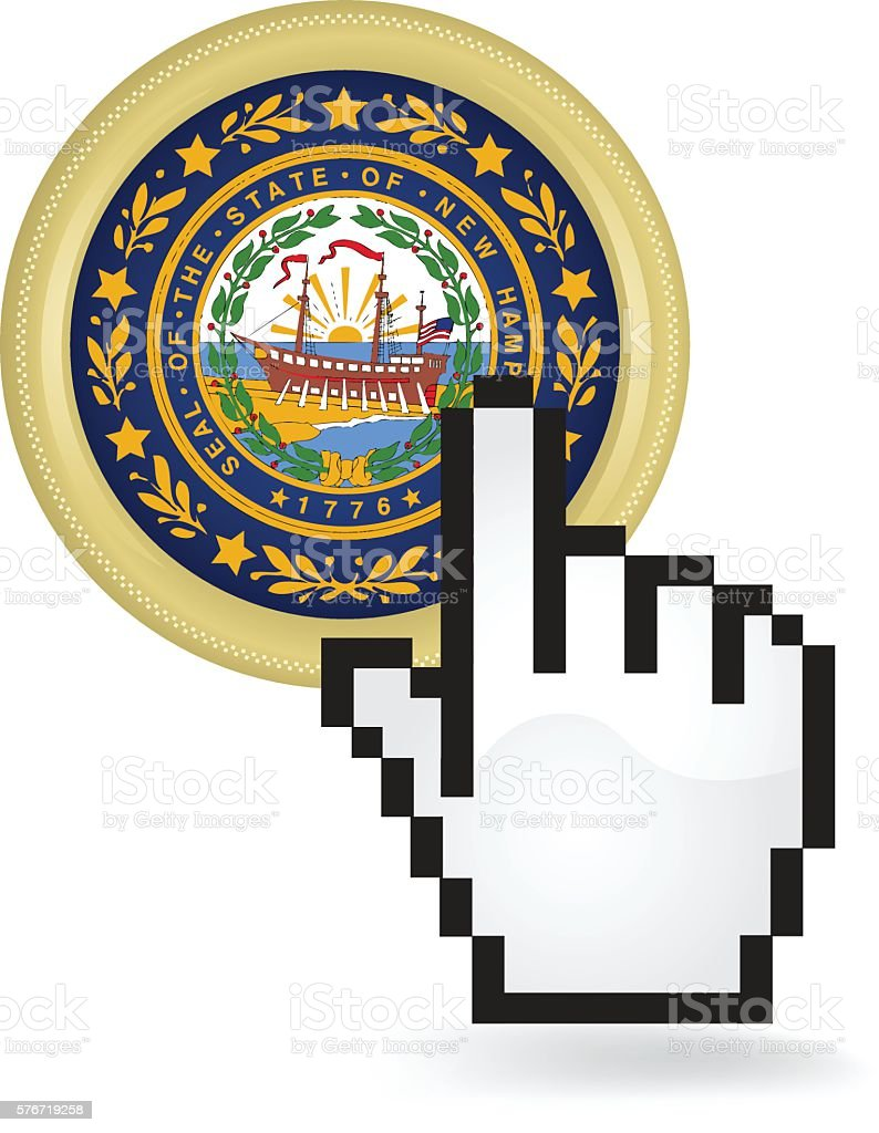 New Hampshire Button Click vector art illustration