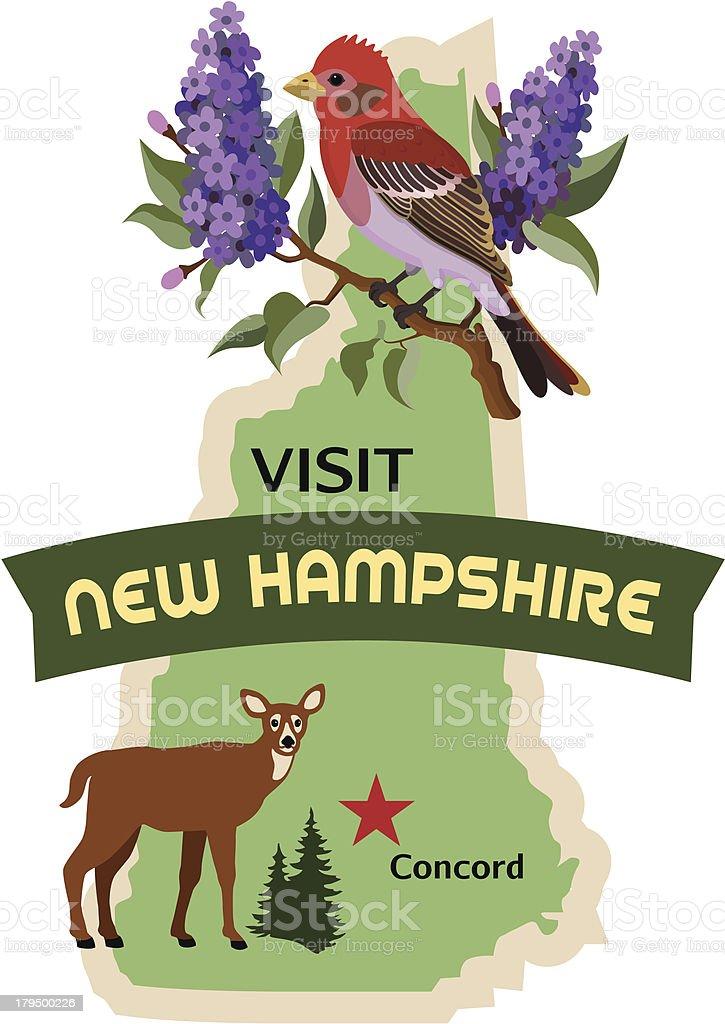 New Hampshire luggage label or travel sticker vector art illustration