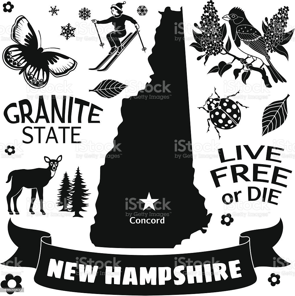 New Hampshire map and icons vector art illustration