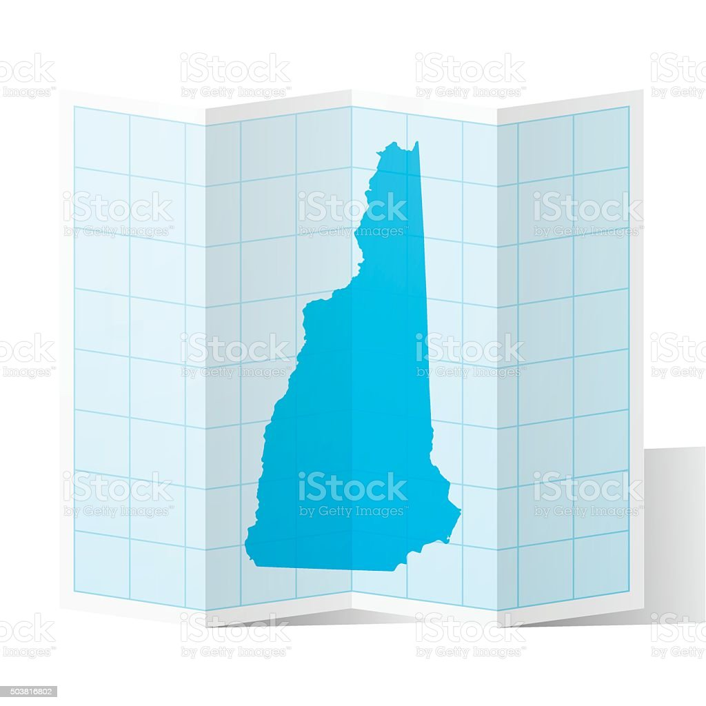 New Hampshire Map folded, isolated on white Background vector art illustration