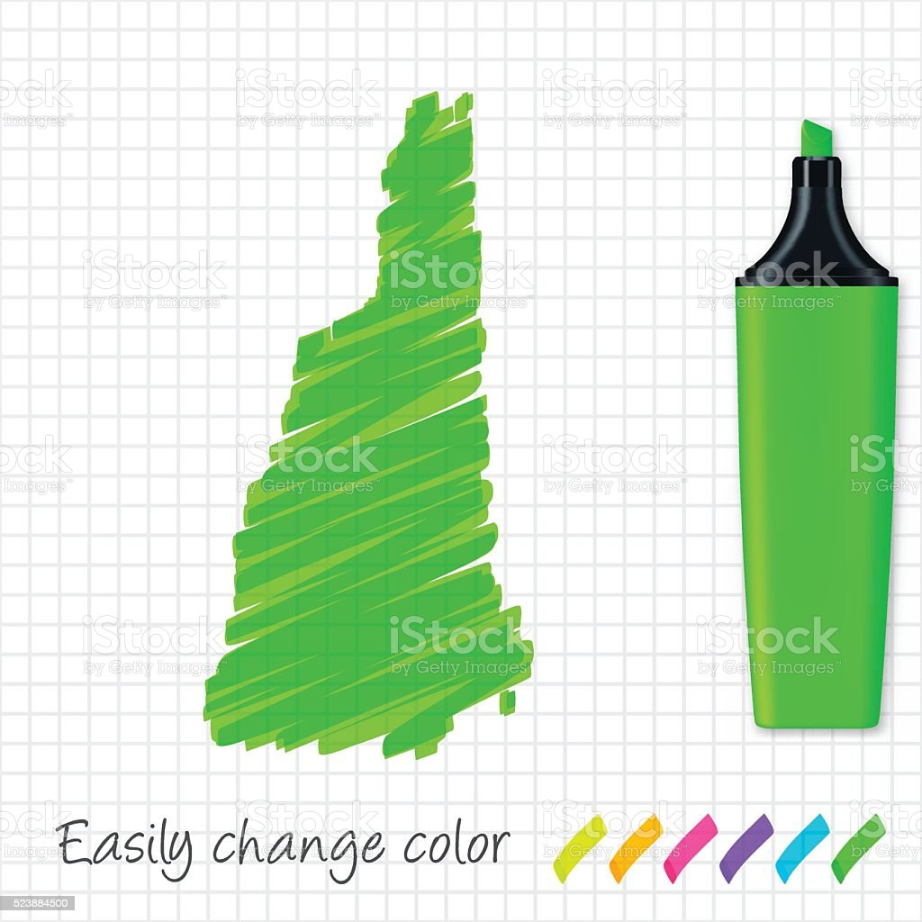 New Hampshire map hand drawn on grid paper, green highlighter vector art illustration