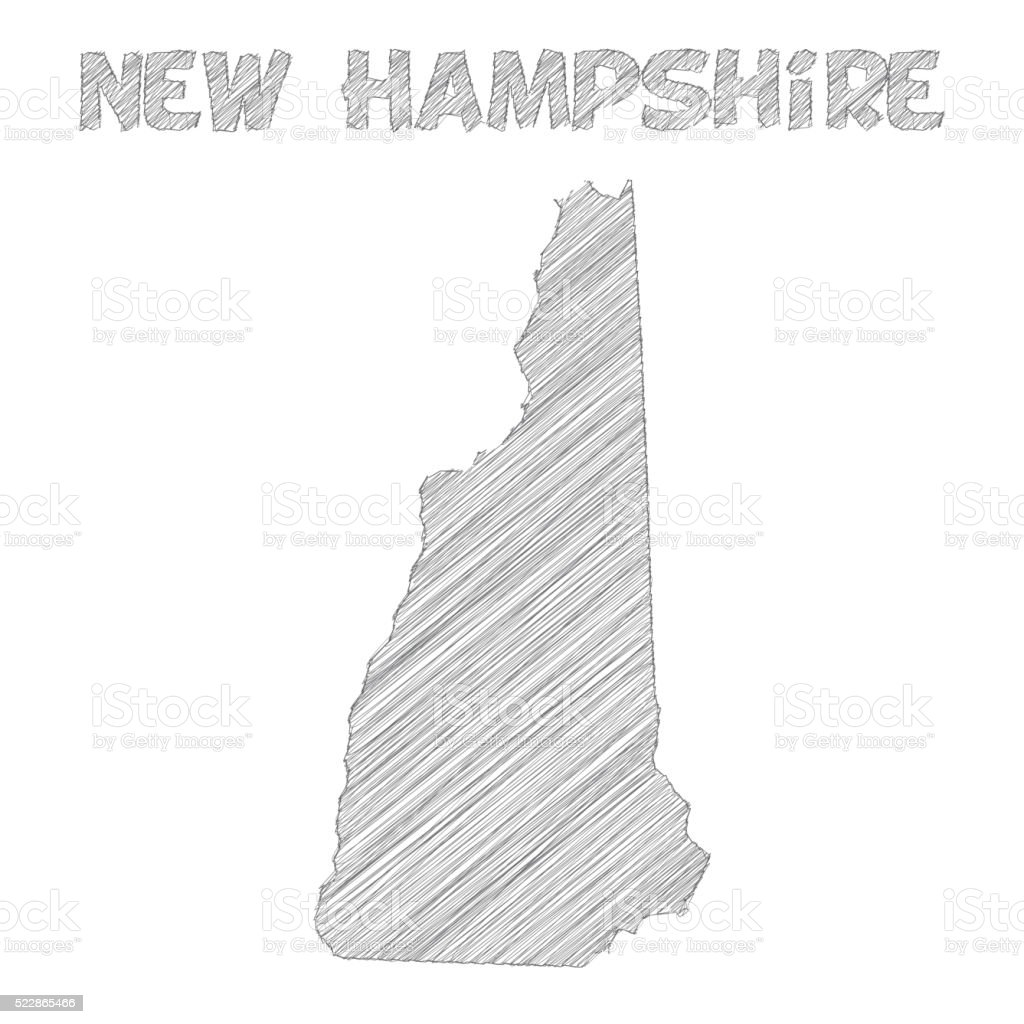 New Hampshire map hand drawn on white background vector art illustration