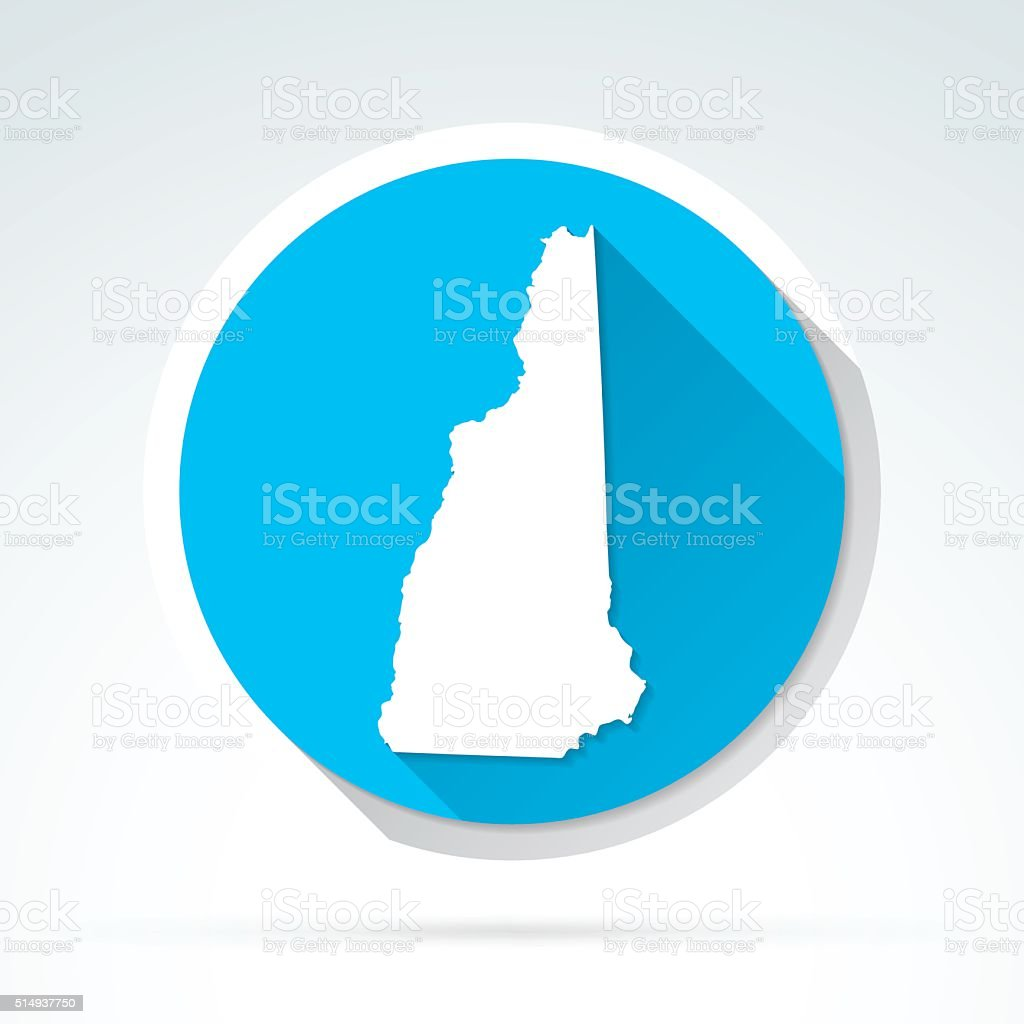 New Hampshire map icon, Flat Design, Long Shadow vector art illustration
