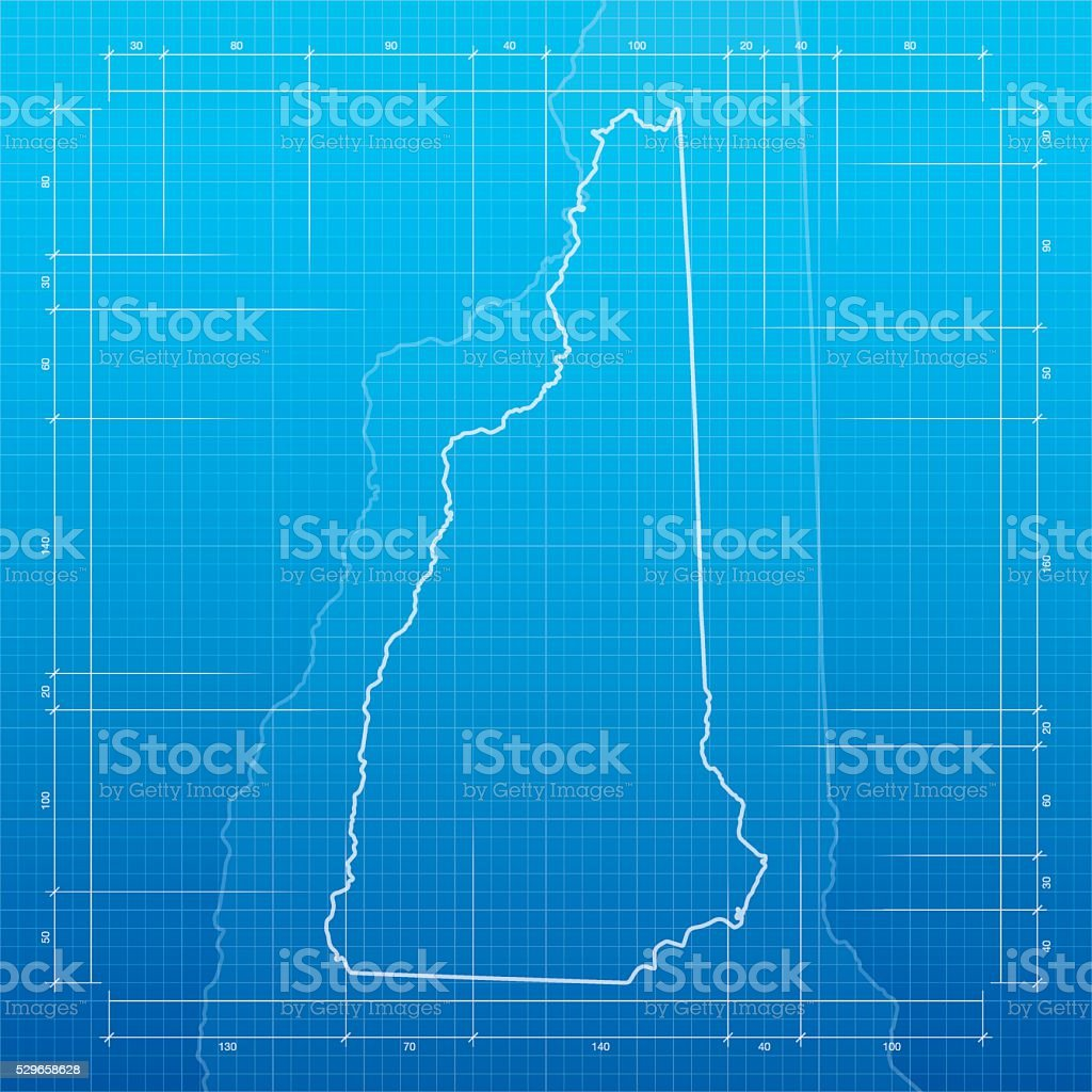 New Hampshire  map on blueprint background vector art illustration