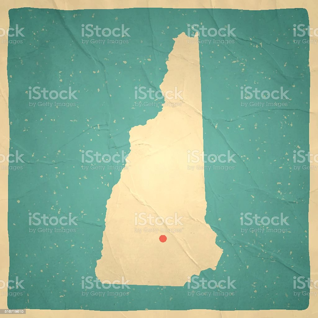 New Hampshire Map on old paper - vintage texture vector art illustration