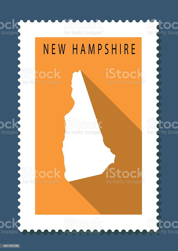 New Hampshire Map on Orange Background, Long Shadow, Flat Design vector art illustration