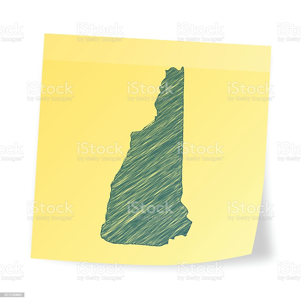 New Hampshire map on sticky note with scribble effect vector art illustration