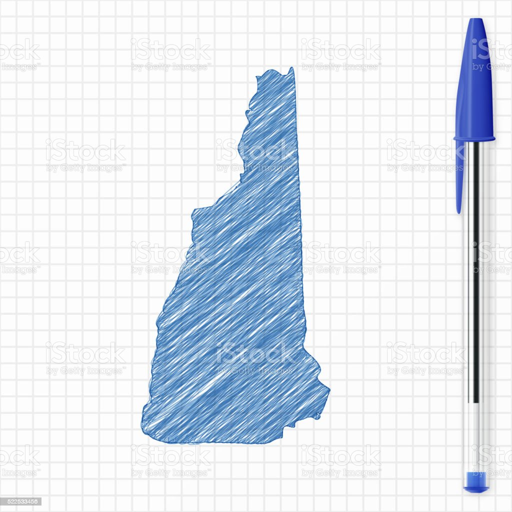 New Hampshire map sketch on grid paper, blue pen vector art illustration