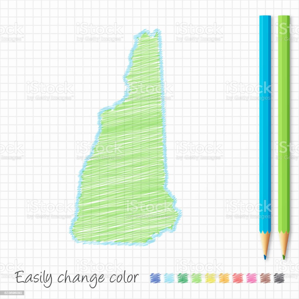 New Hampshire map sketch with color pencils, on grid paper vector art illustration