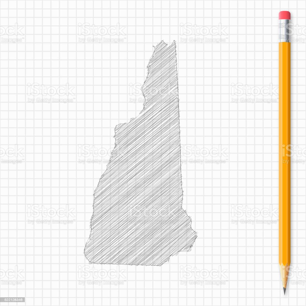 New Hampshire map sketch with pencil on grid paper vector art illustration