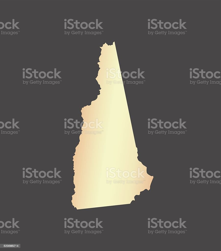 New Hampshire map vector outline in USA with gray background vector art illustration