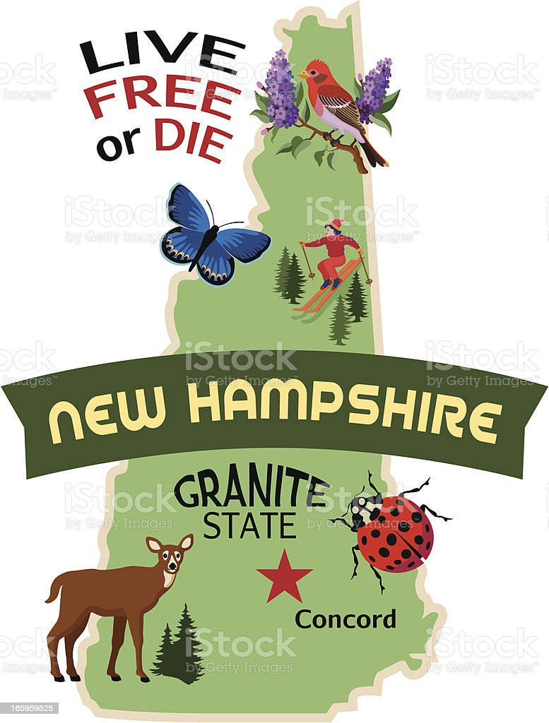 New Hampshire map with illustrations royalty-free stock vector art