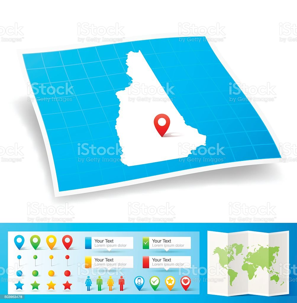 New Hampshire Map with location pins isolated on white Background vector art illustration