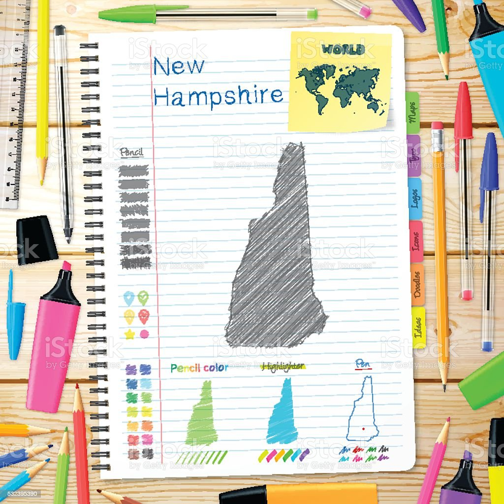 New Hampshire maps hand drawn on notebook. Wooden Background vector art illustration