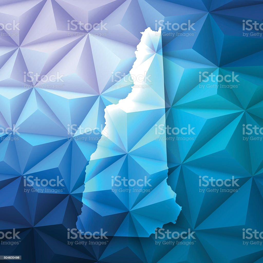 New Hampshire on Abstract Polygonal Background - Low Poly, Geometric vector art illustration