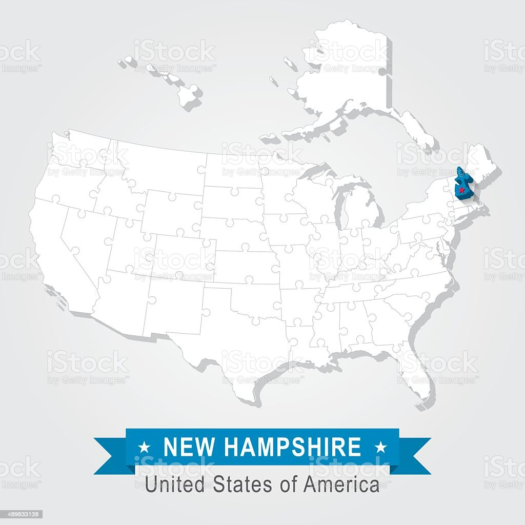 New Hampshire state. USA administrative map. vector art illustration