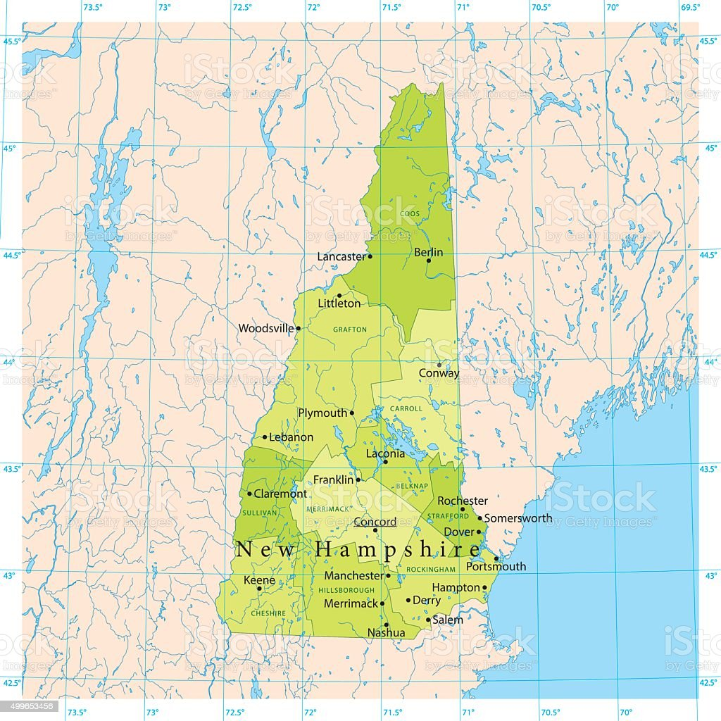 New Hampshire Vector Map vector art illustration