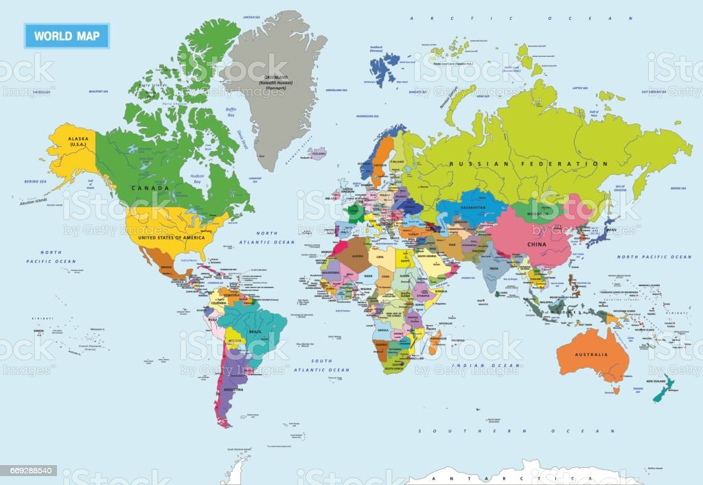 New Highly Detailed Political World Map With All Countries And - World map and their capitals