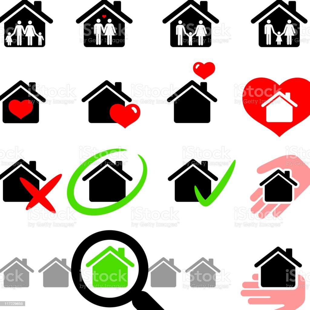 New home family life black and white vector icon set royalty-free stock vector art