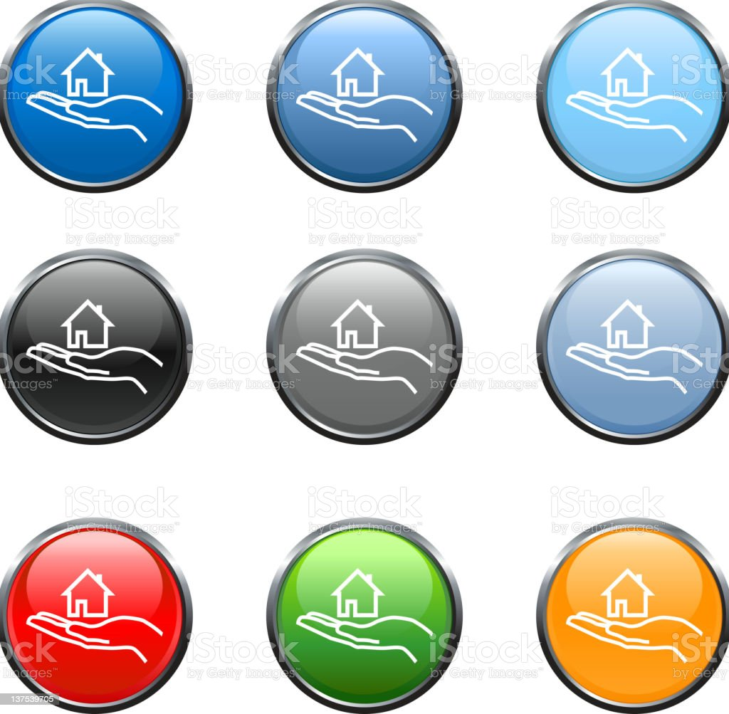 new home royalty free vector art button in nine colors royalty-free stock vector art