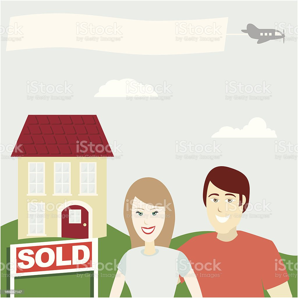 New Home Series - Happy Homeowners (vector) vector art illustration
