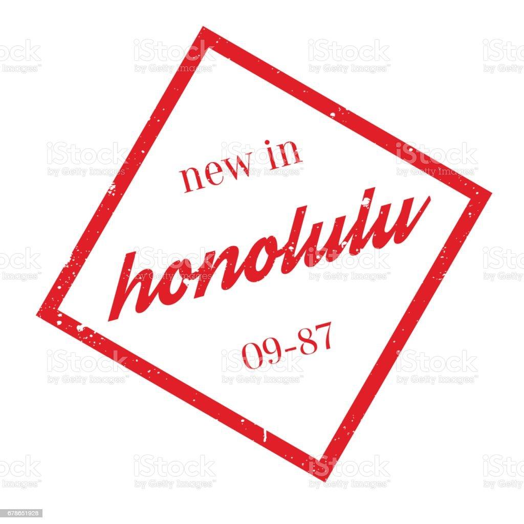 New In Honolulu rubber stamp vector art illustration