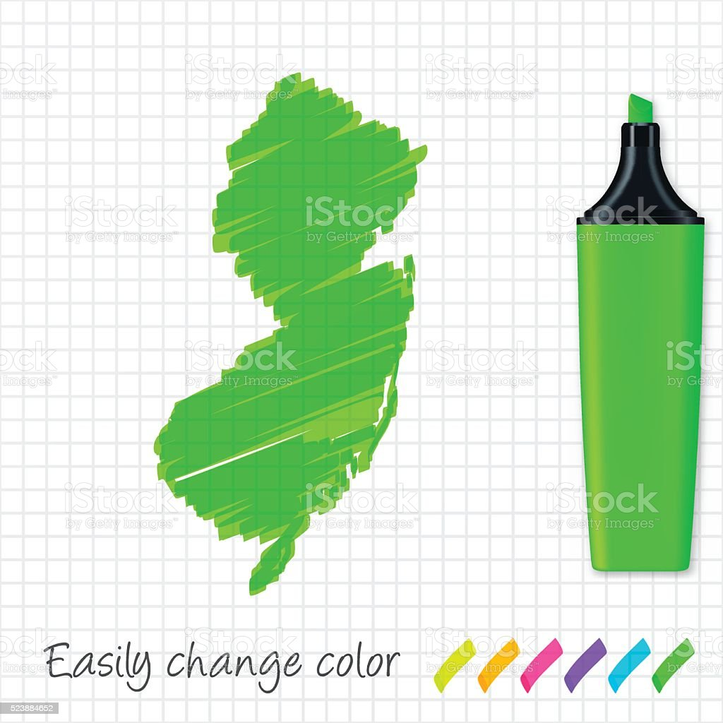 New Jersey map hand drawn on grid paper, green highlighter vector art illustration