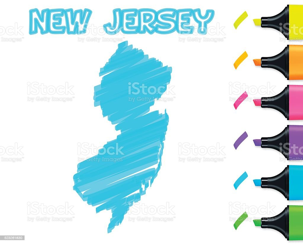 New Jersey map hand drawn on white background, blue highlighter vector art illustration