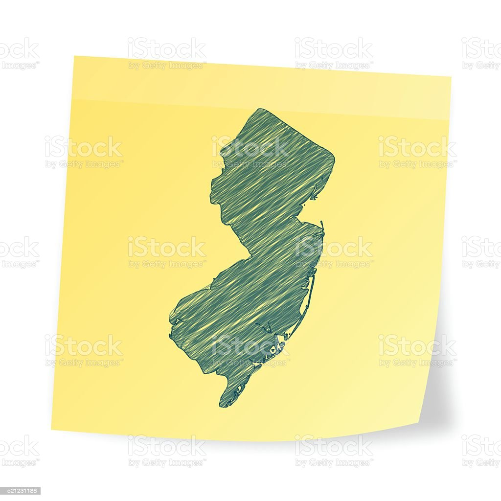 New Jersey map on sticky note with scribble effect vector art illustration