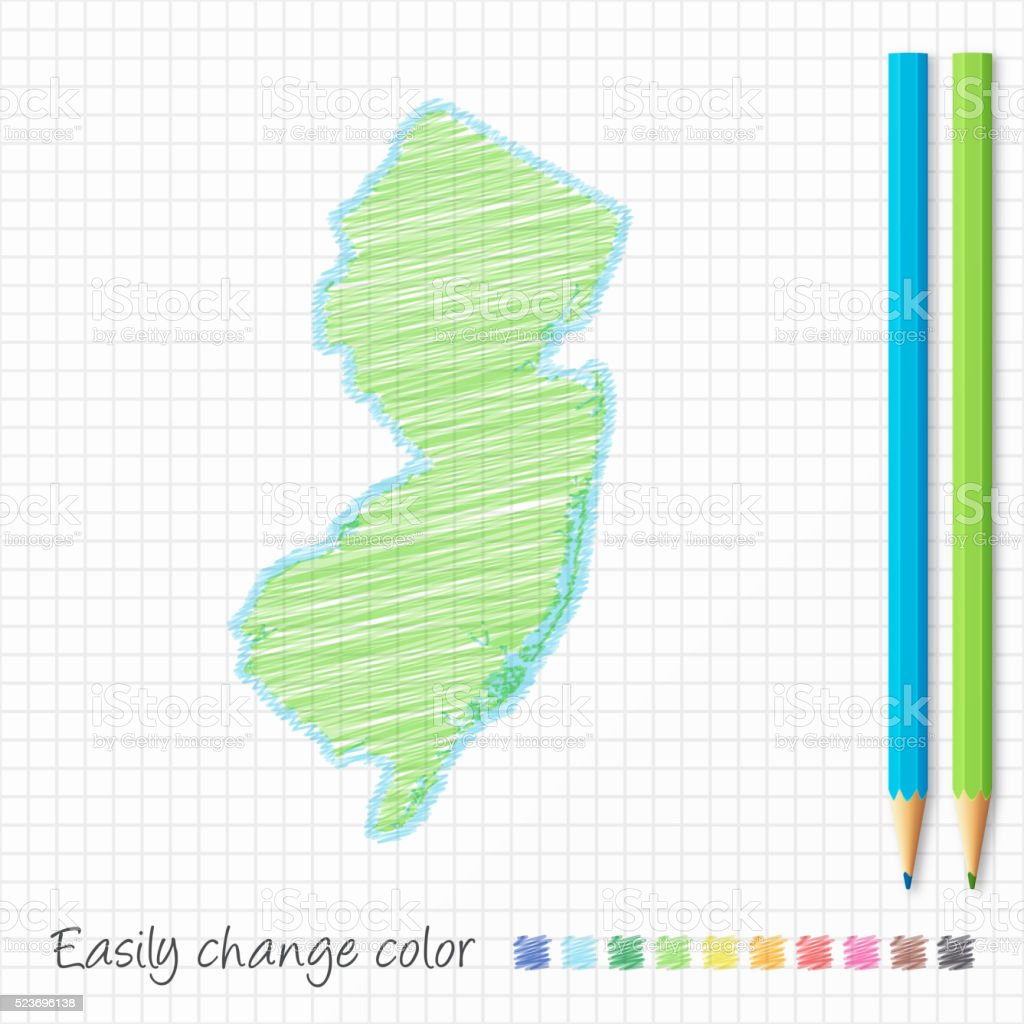 New Jersey map sketch with color pencils, on grid paper vector art illustration