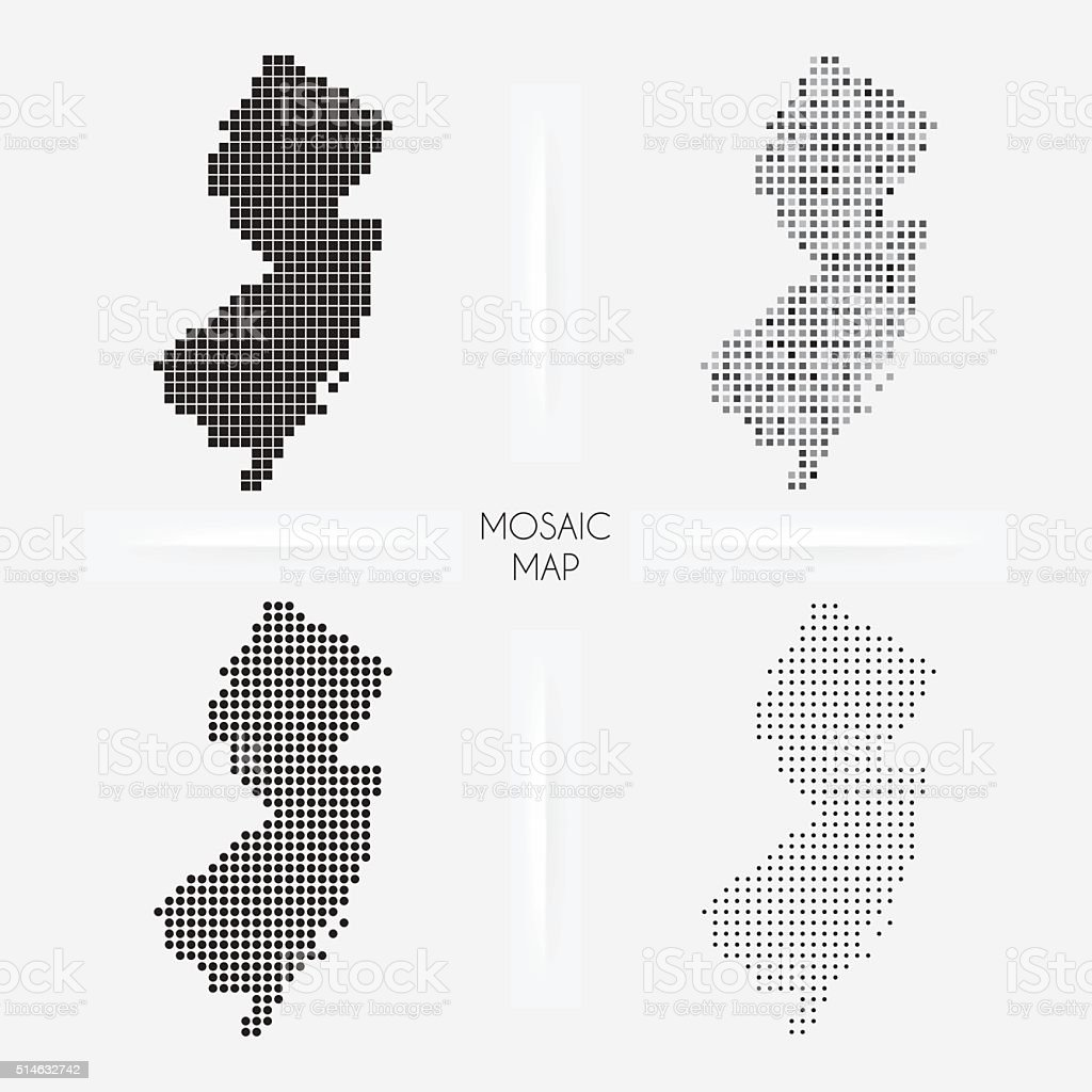 New Jersey maps - Mosaic squarred and dotted vector art illustration