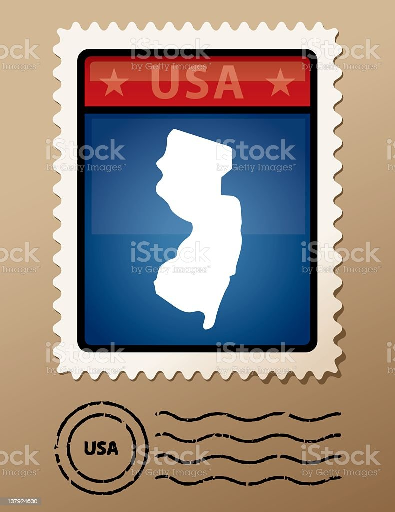 USA New Jersey postage stamp royalty-free stock vector art