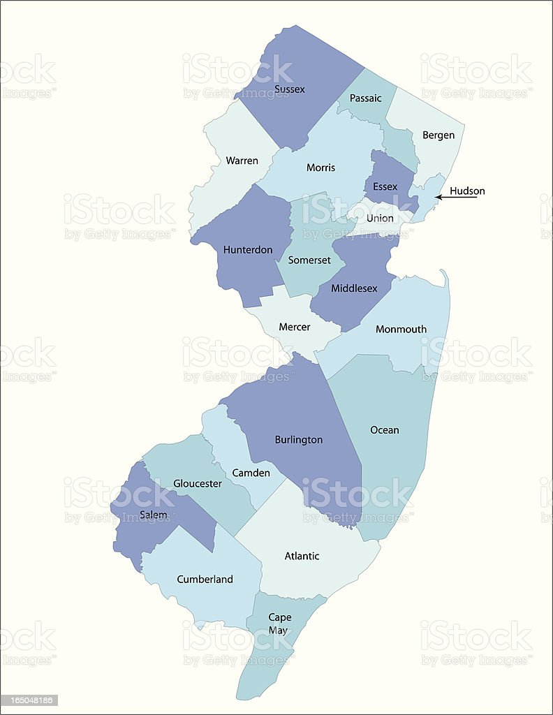 New Jersey state - county map vector art illustration
