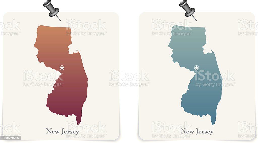 New Jersey state red and blue cards royalty-free stock vector art