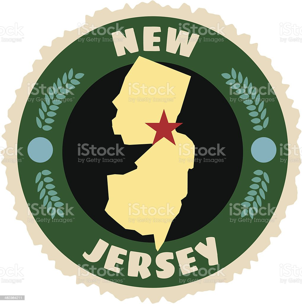 New Jersey travel sticker or luggage label royalty-free stock vector art