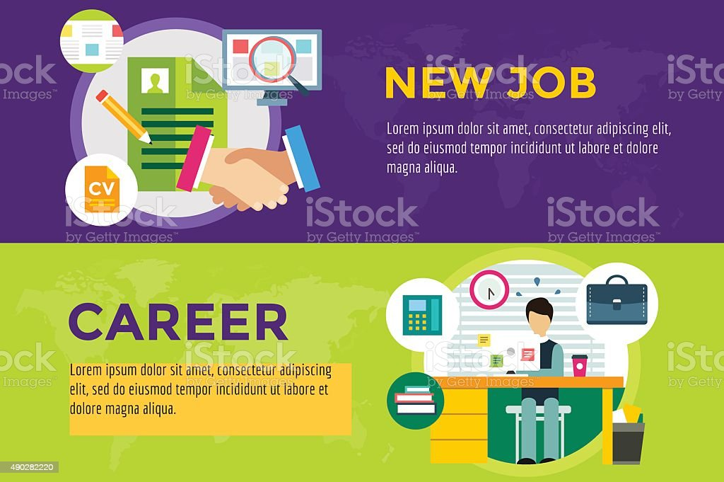 New job search and career work infographic vector art illustration