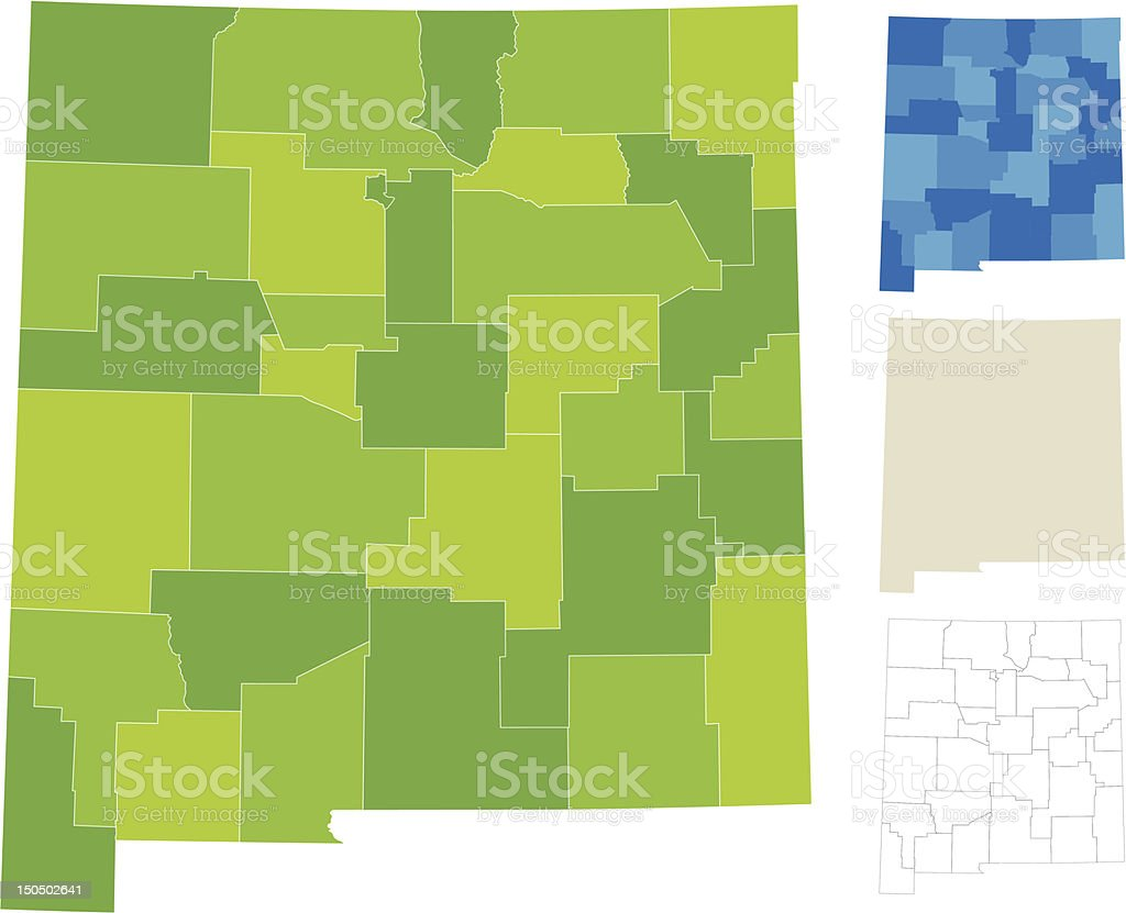 New Mexico County Map vector art illustration