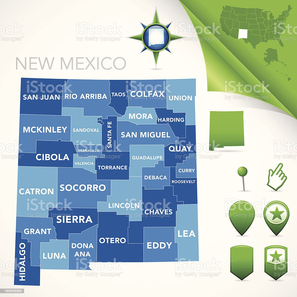 New Mexico County Map royalty-free stock vector art