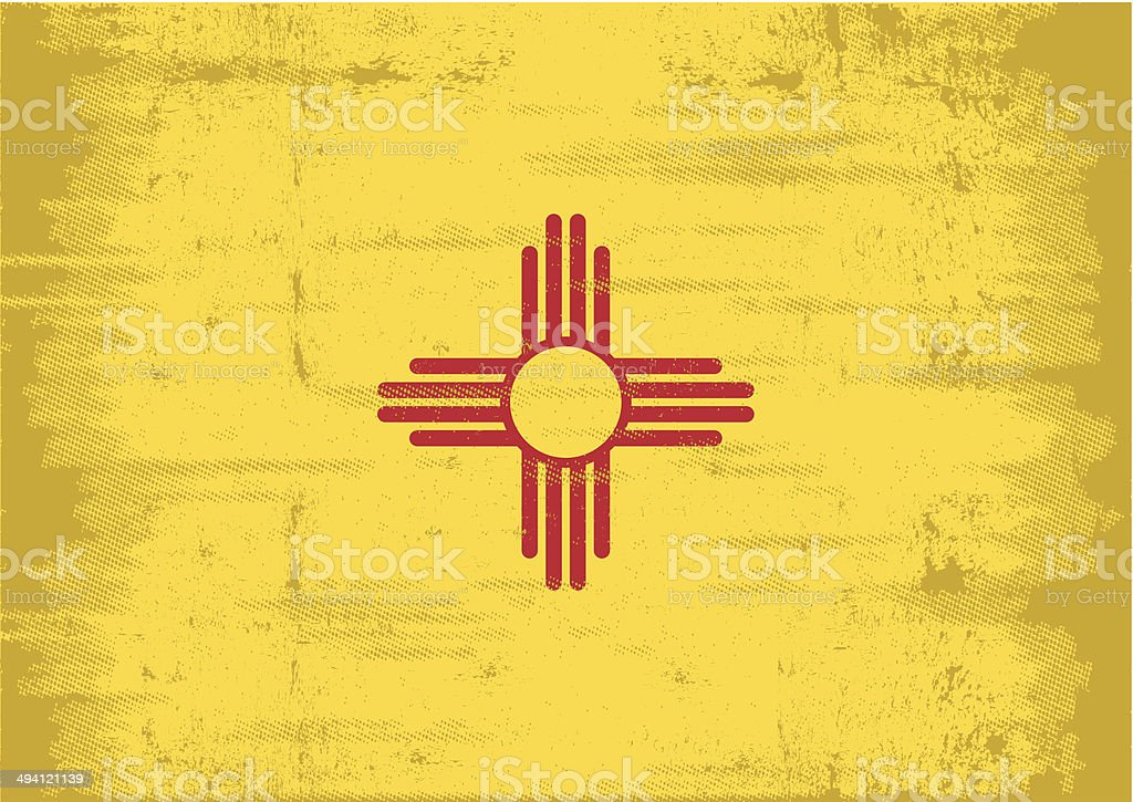 New Mexico grunge Flag vector art illustration