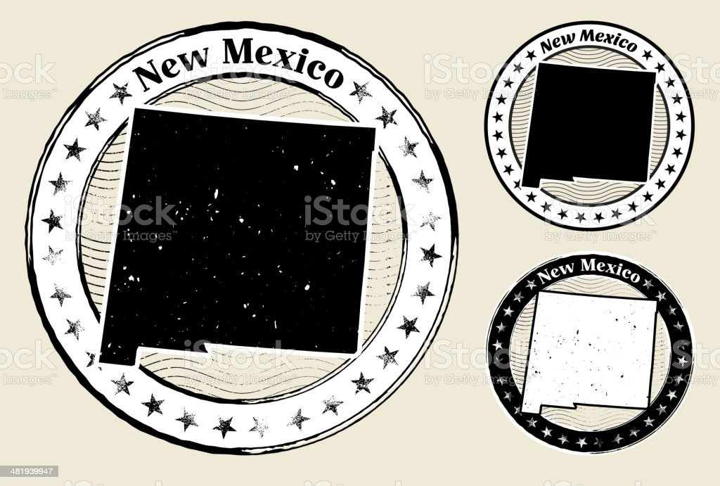 New Mexico Grunge Map Black & White Stamp Collection royalty-free stock vector art