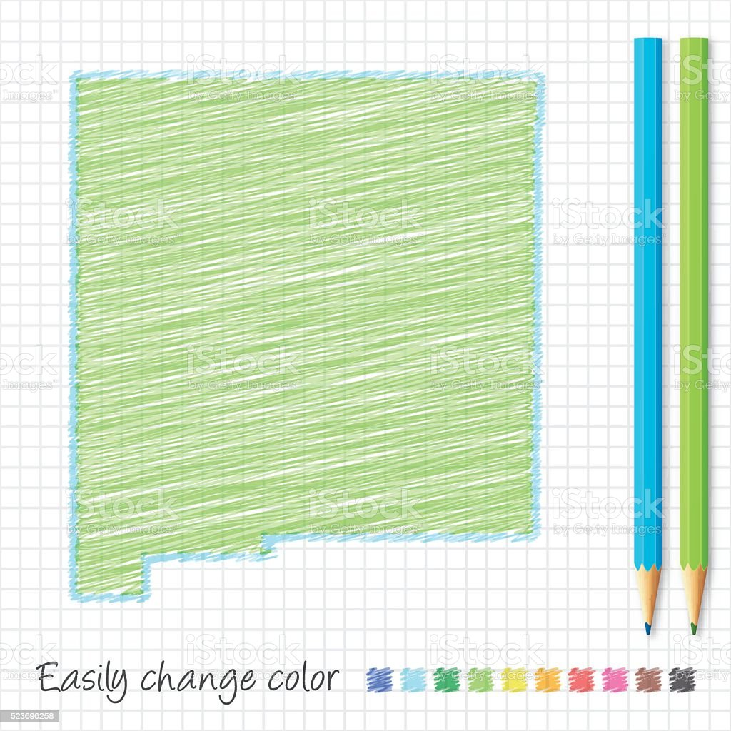 New Mexico map sketch with color pencils, on grid paper vector art illustration
