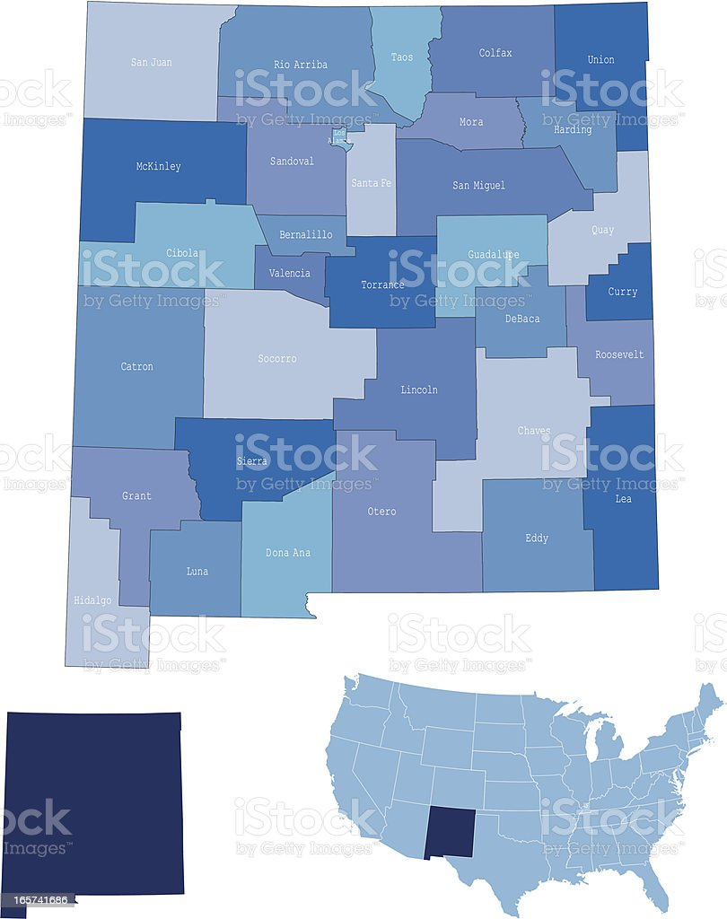 New Mexico state & counties map royalty-free stock vector art