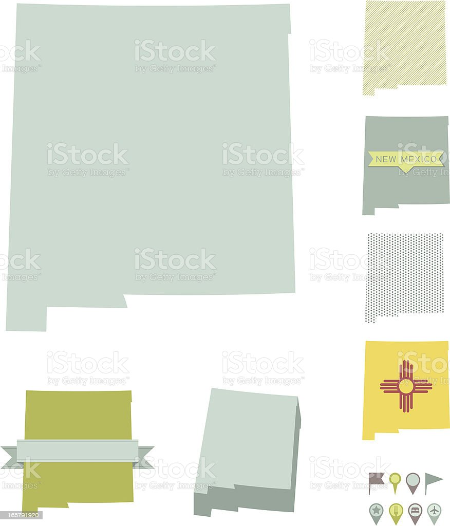 New Mexico State Maps vector art illustration