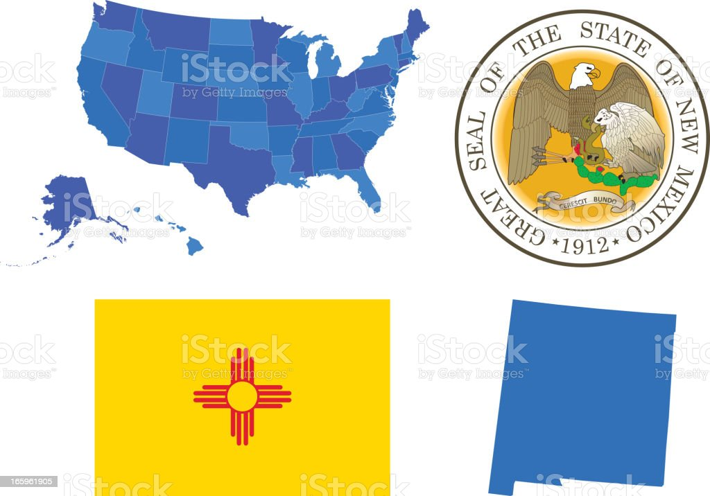New Mexico state set vector art illustration