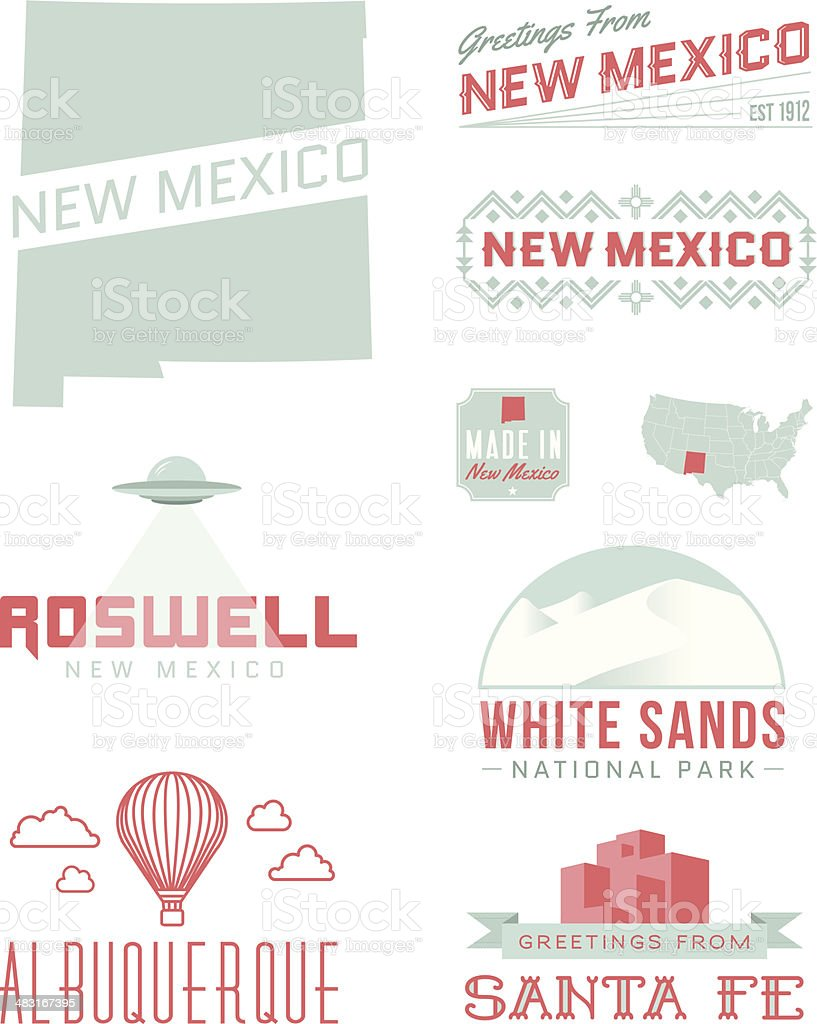 New Mexico Typography vector art illustration