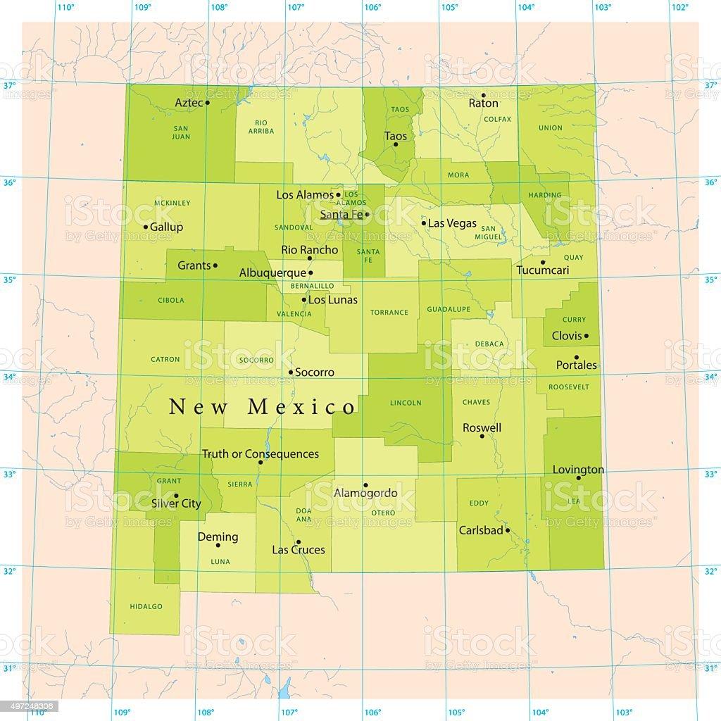 New Mexico Vector Map vector art illustration