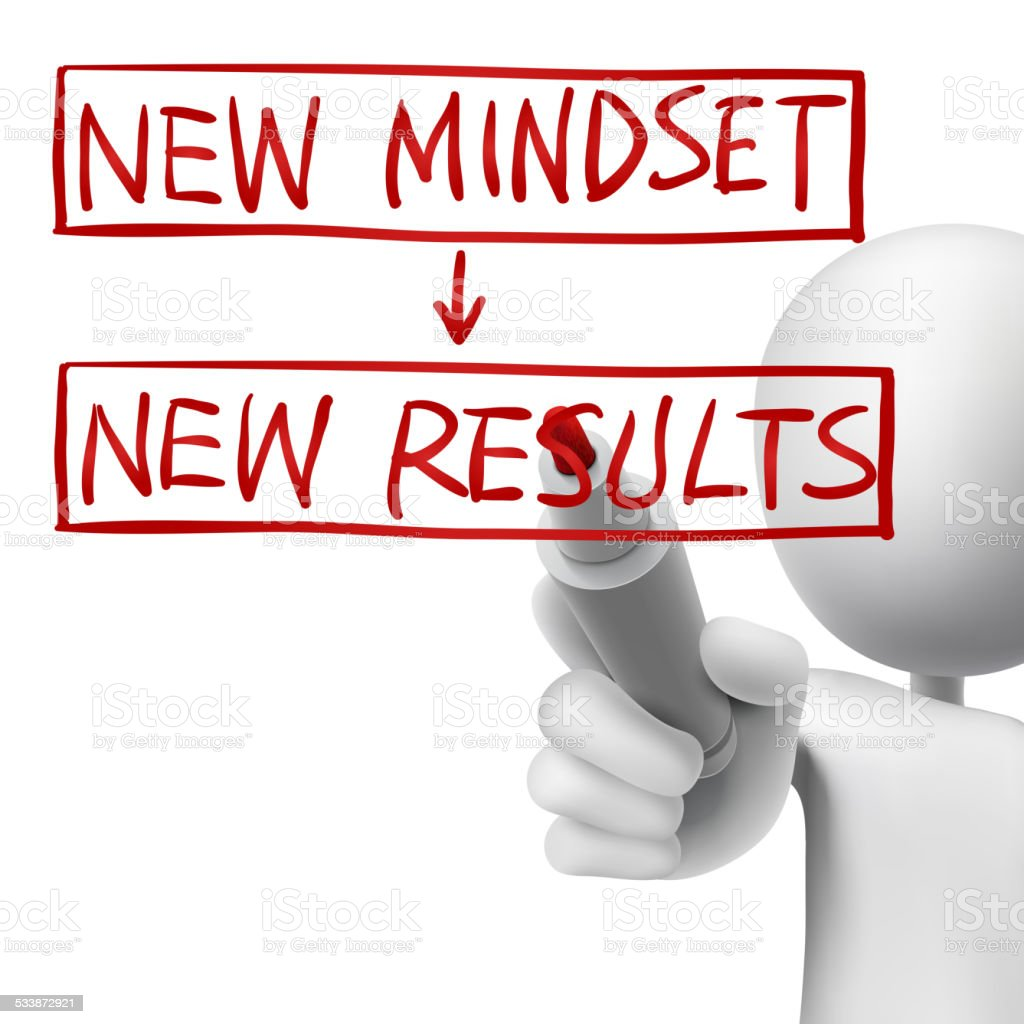 new mindset to new results written by 3d man vector art illustration